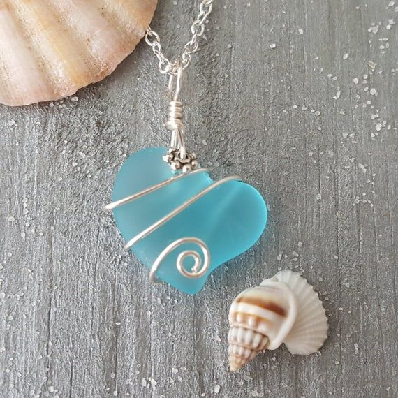 """Handmade in Hawaii, Wire wrapped """"Heart of the Sea"""" Blue sea glass necklace, 925 sterling silver cha"""
