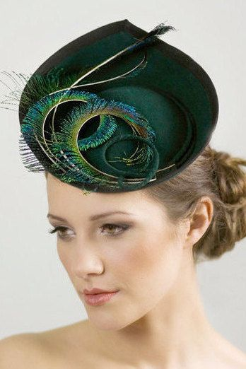 Hat for the Races, Ladies Day, Saucer Hat for Women, Wedding Feathered Millinery – Elin