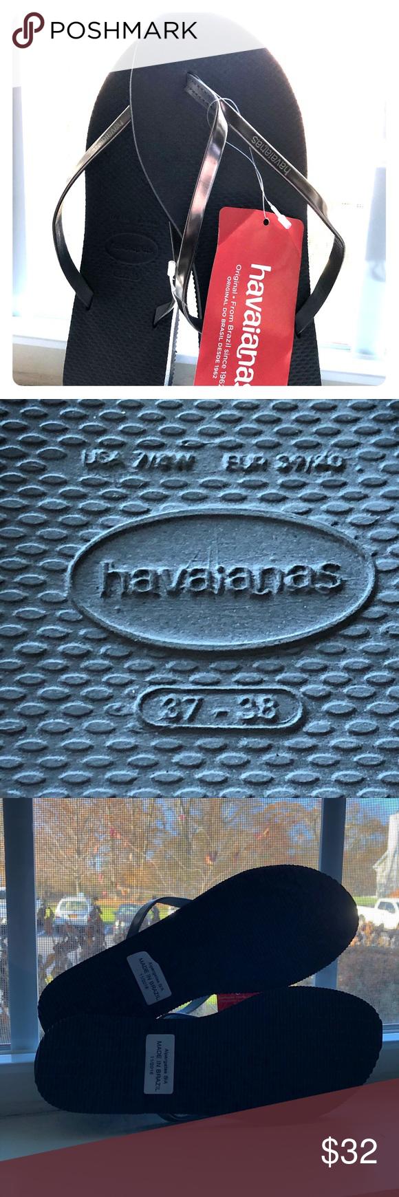 Havaianas Women's You Metallic Flip Flop Havaianas Steel Grey Size 7/8    Dres…