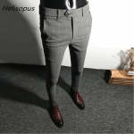 Helisopus Dress Pants Men Solid Color Slim Fit Male Social Business Casual Skinny Suit Pants