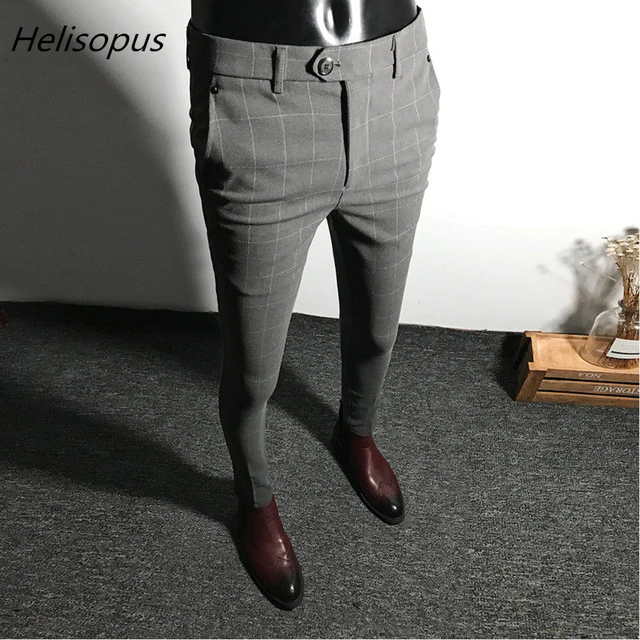 Helisopus Dress Pants Men Solid Color Slim Fit Male Social Business Casual Skinny Suit Pants