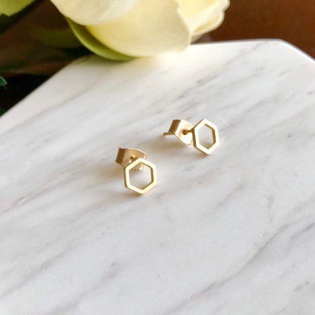 Hexagon stud earrings | 14k gold hexagon earrings | sterling silver hexagon studs minimalist | silver studs| geometric earrings | gold studs