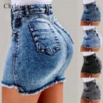 High Waist Denim Skirts Women Jeans Skirt Ladies Pocket Short Black Blue Gray