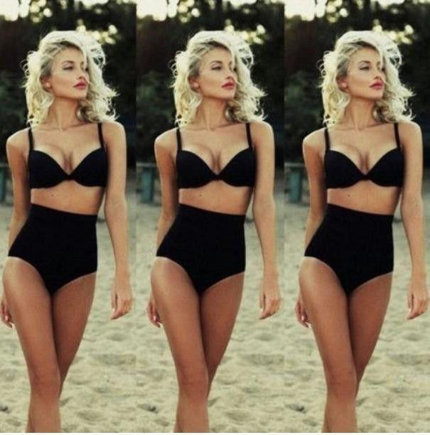 High Waist Sexy Strap Beach Bikini Set Swimsuit Swimwear HYB59RF