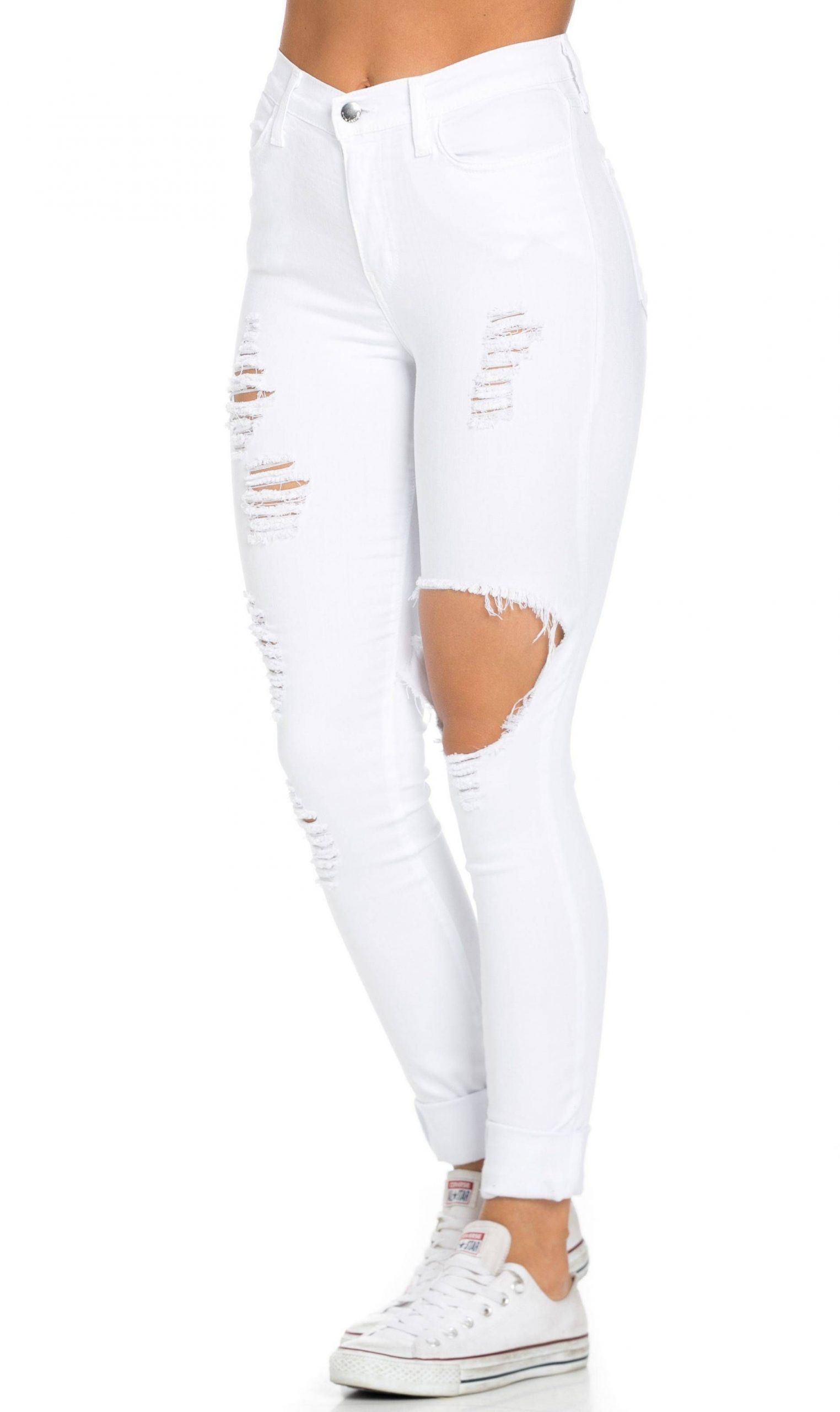 High Waisted Distressed Skinny Jeans in White (Plus Sizes Available)