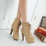 High heel boots, tan booties