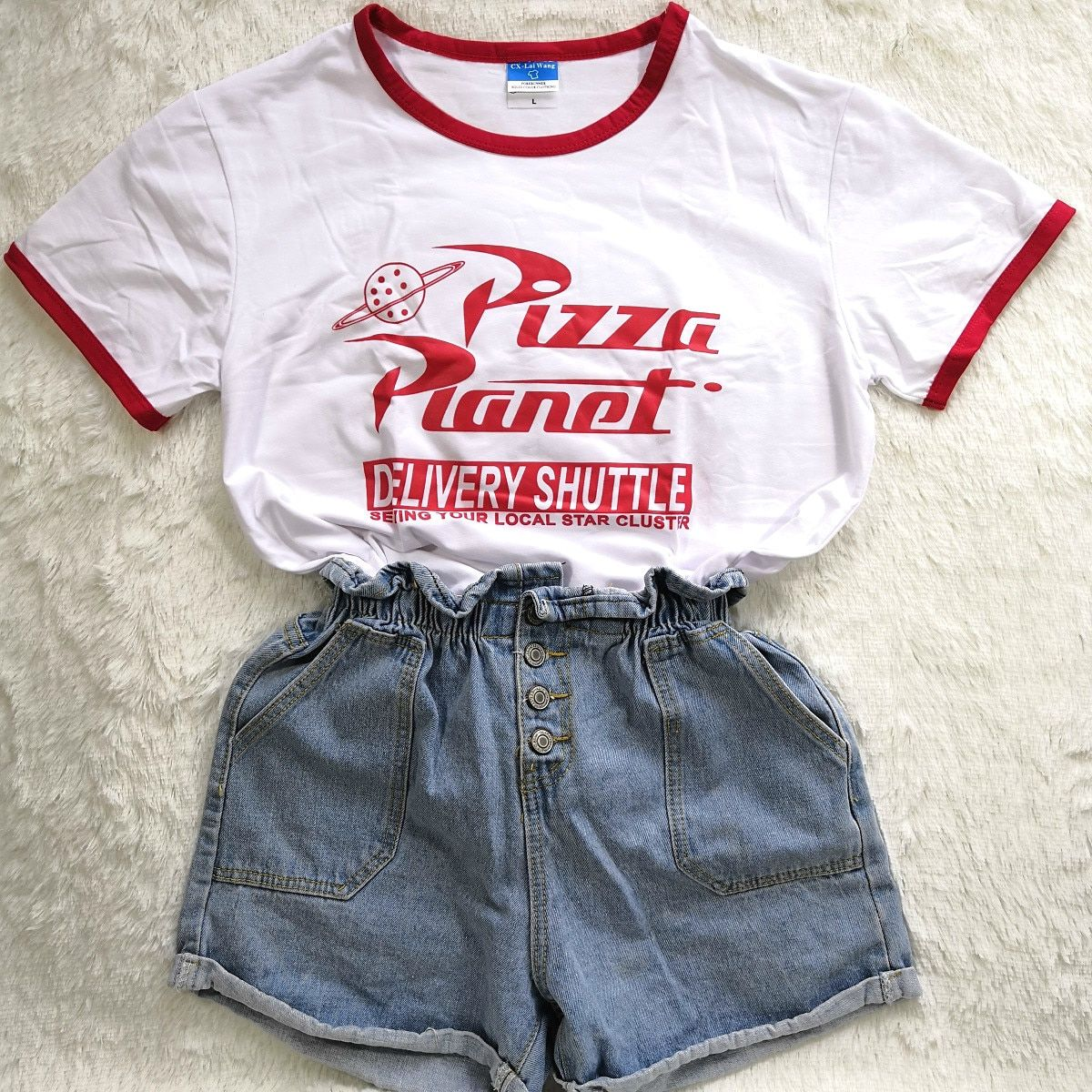 Hillbilly Funny Pizza Planet Humor Summer T shirt Red Edge Ladies Short Sleeved Loose Plus Size Casual Top O-neck Hipster Tumblr