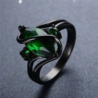 """Hot Sale Emerald Topaz """"S"""" Ring Black Gold Filled Charm Women and Men Party Finger Jewelry Size 3-12 