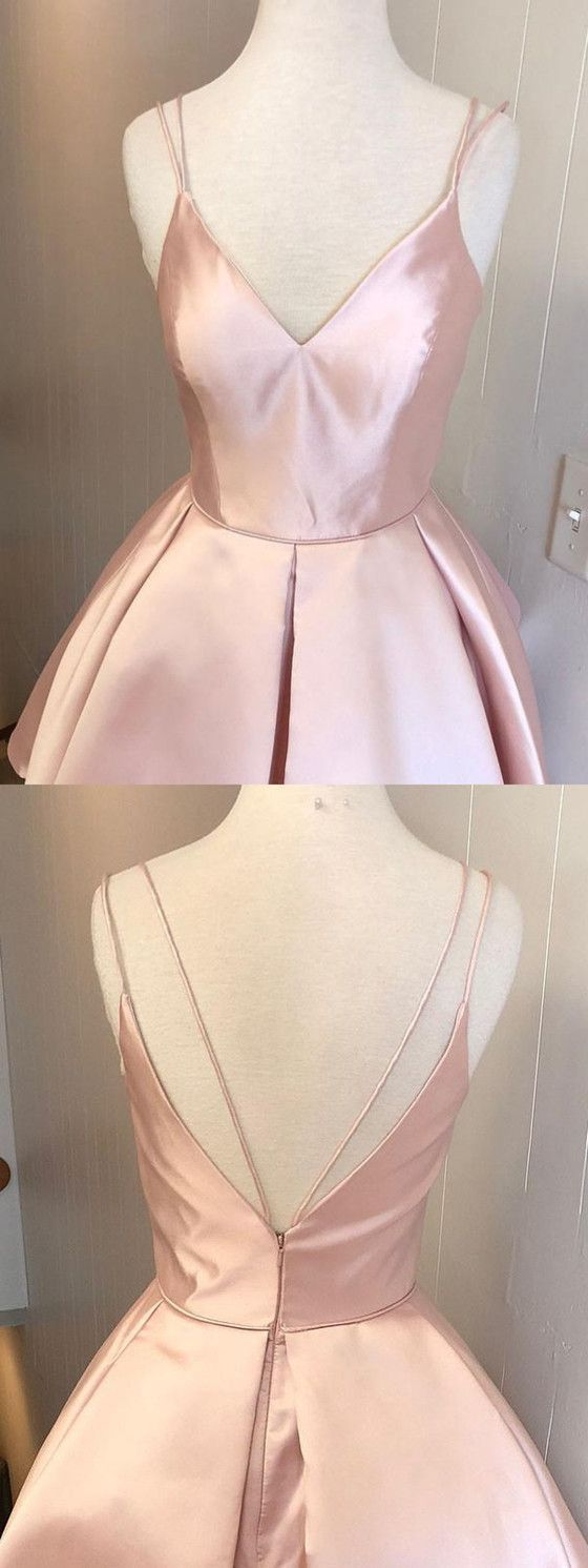Hot Selling Spaghetti Straps V-neck Pink Simple Homecoming Dresses