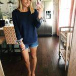 How to Wear a Cuffed Sweatshirt // Summer Sweatshirt // Perfect Midi Jean Shorts...