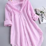I found this amazing Chic Stripe Long Sleeve Turn-down Collar Loose Shirts