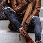 I love this style Dark Jeans + Brown Leather Jacket + Brown Ankle Boots.  It loo...