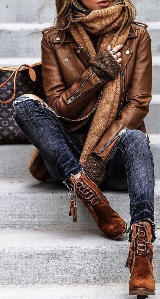 I love this style Dark Jeans + Brown Leather Jacket + Brown Ankle Boots.  It loo…