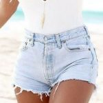 I love this summer outfit look. White v-neck bodysuit and denim jean shorts. #sh...