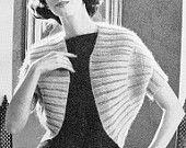 INSTANT PDF PATTERN 1960s Vintage Knitting Pattern Elegant Shrug Sweater Jacket Lovely Design Day or Evening Unique Knit Pattern