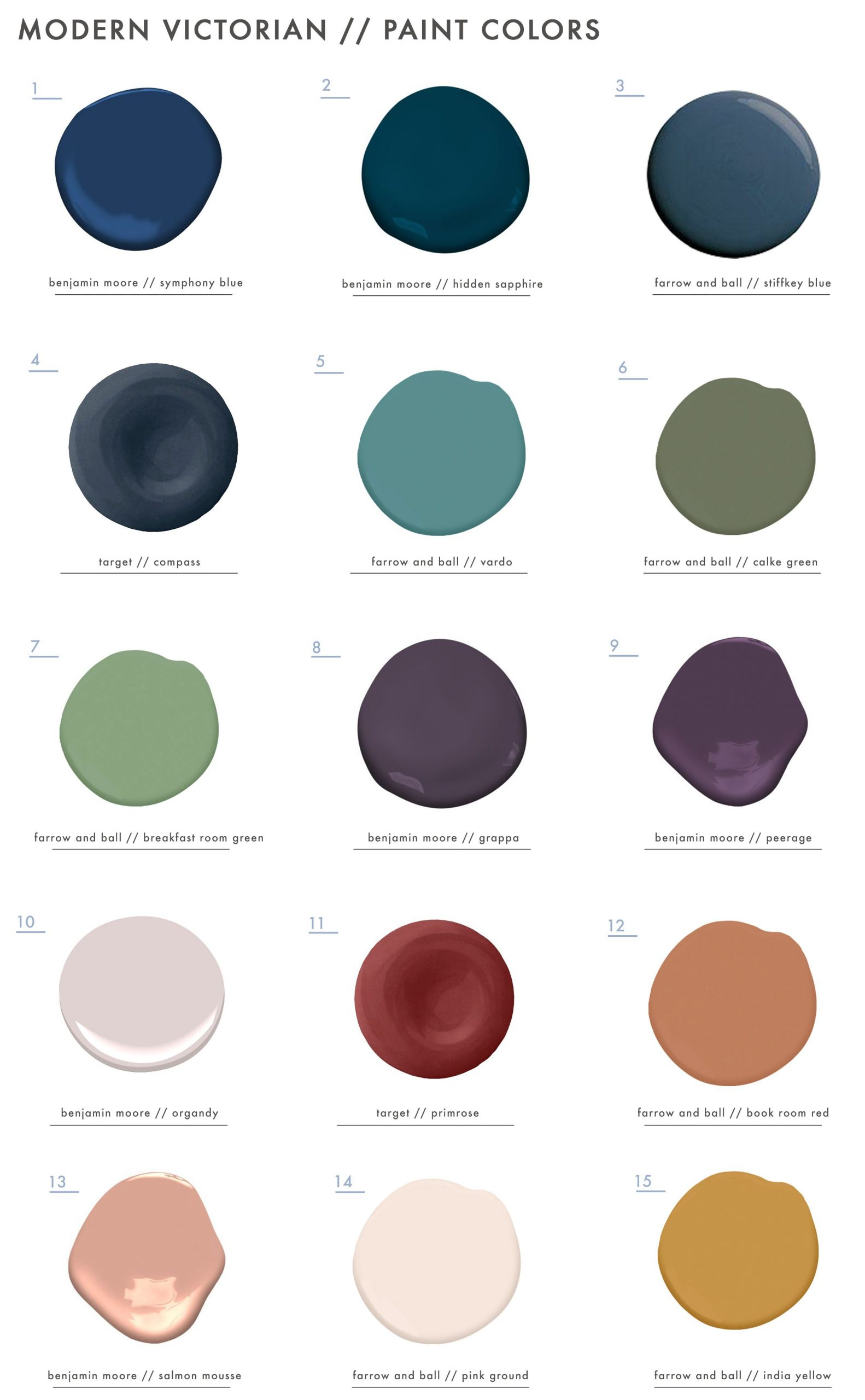 If you are wanting a Modern Victorian  spaces these are EHD approved paint color…