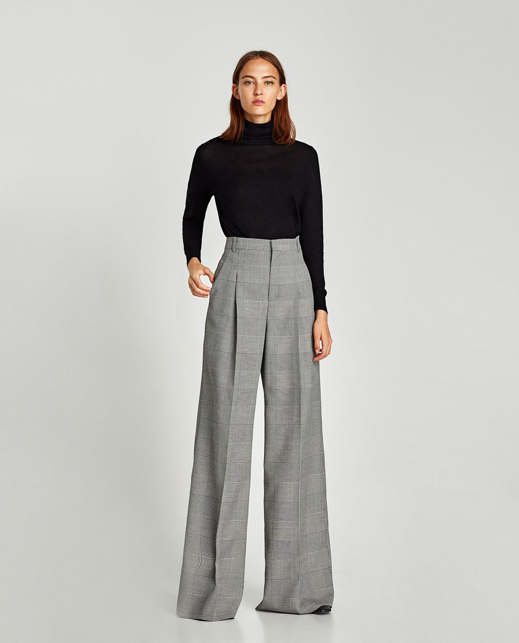 Image 1 of CHECKED WIDE-LEG TROUSERS from Zara