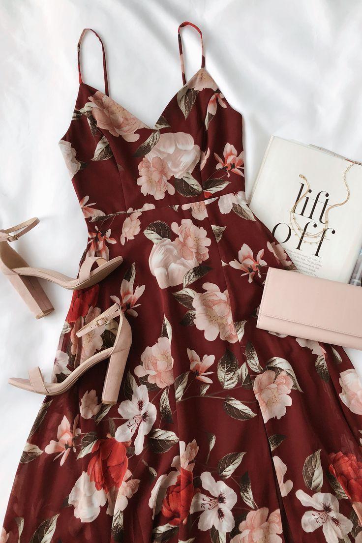 Into Bloom Burgundy Floral Print Maxi Dress