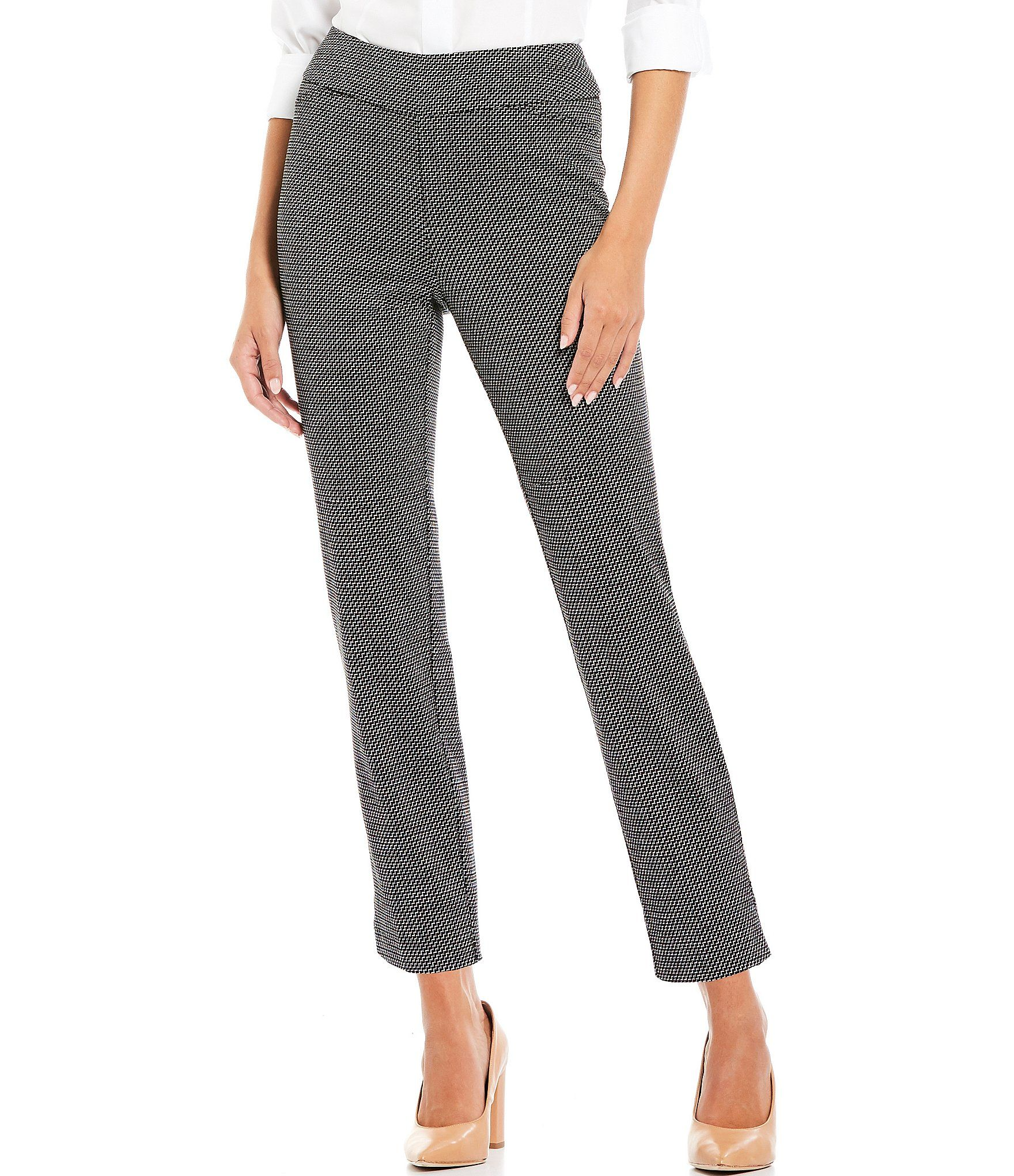 Investments the PARK AVE fit Pull-On Classic Straight Ankle Pants – Zig-Zag 10