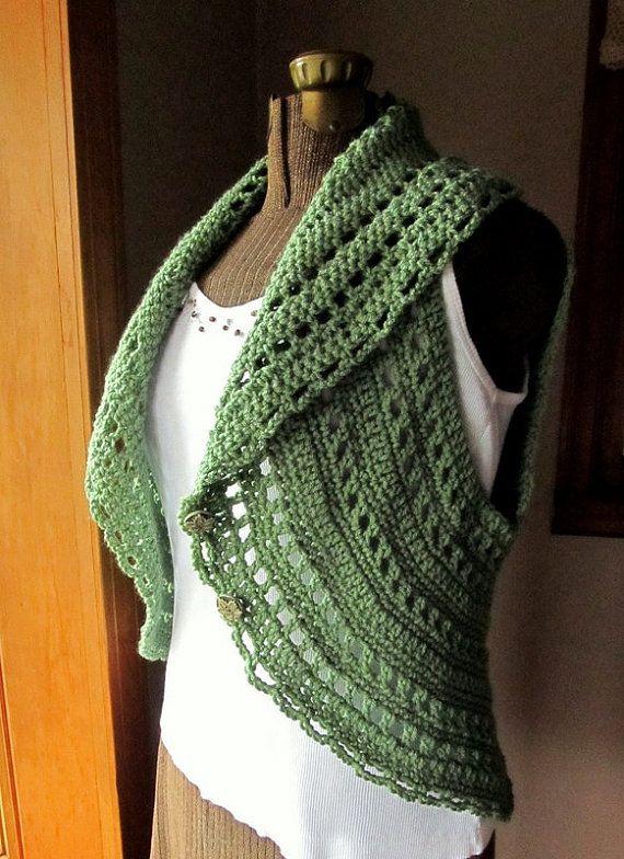 Items similar to Crochet Circle Vest or Sleeveless Shrug in Light Sage Green on Etsy