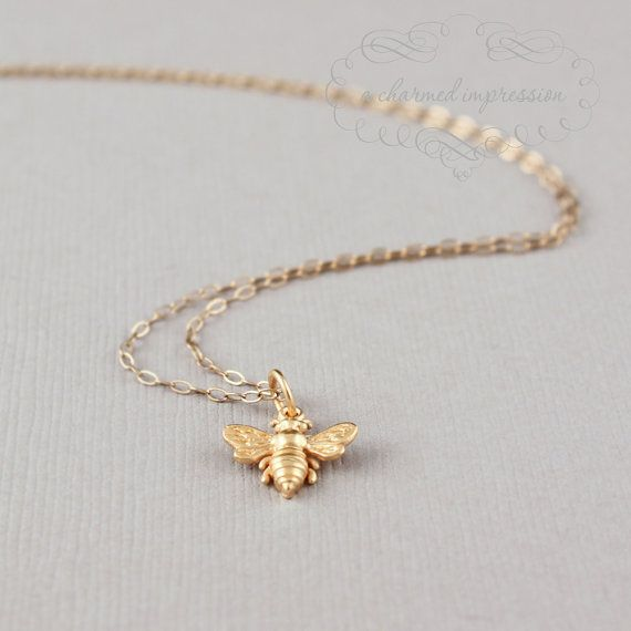 Items similar to Little Gold Bee Necklace, Bumble Bee, Honeybee, 14k Gold Bee, Silver Bee Jewelry, Dainty Mom Jewelry, Charm Necklace, Mother's Necklace, Mom on Etsy