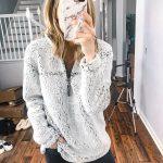 Ivory grey sherpa teddy bear pullover sweater black skinny jeans pants. Cute wom...