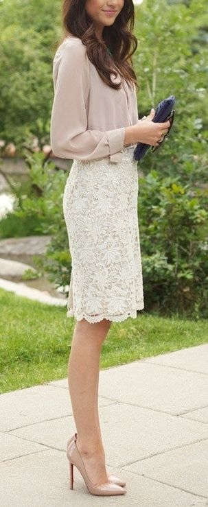 Ivory lace skirt as Kate Middelton would wear it. Chiffon blouse to soften the e…