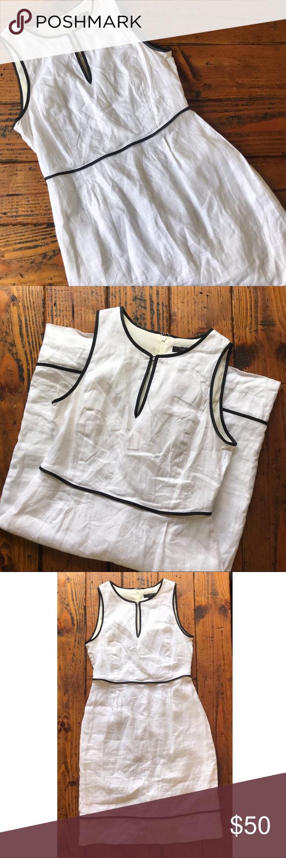 J. Crew linen dress Timeless linen sundress from J. Crew. White with black pipin…