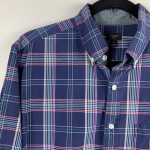 J.Crew Navy Tartan Button Up Shirt Size Medium J.Crew Navy Tartan Button Up Shir...