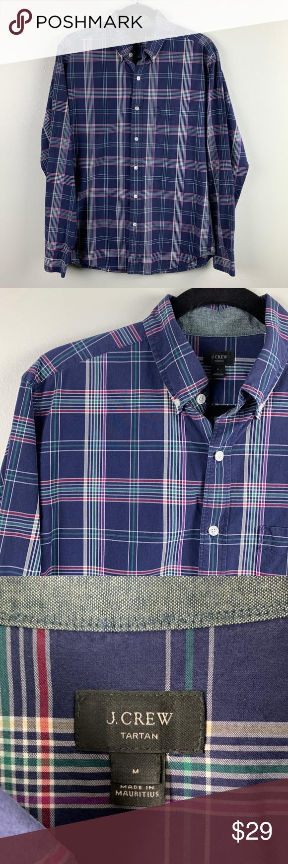 J.Crew Navy Tartan Button Up Shirt Size Medium J.Crew Navy Tartan Button Up Shir…