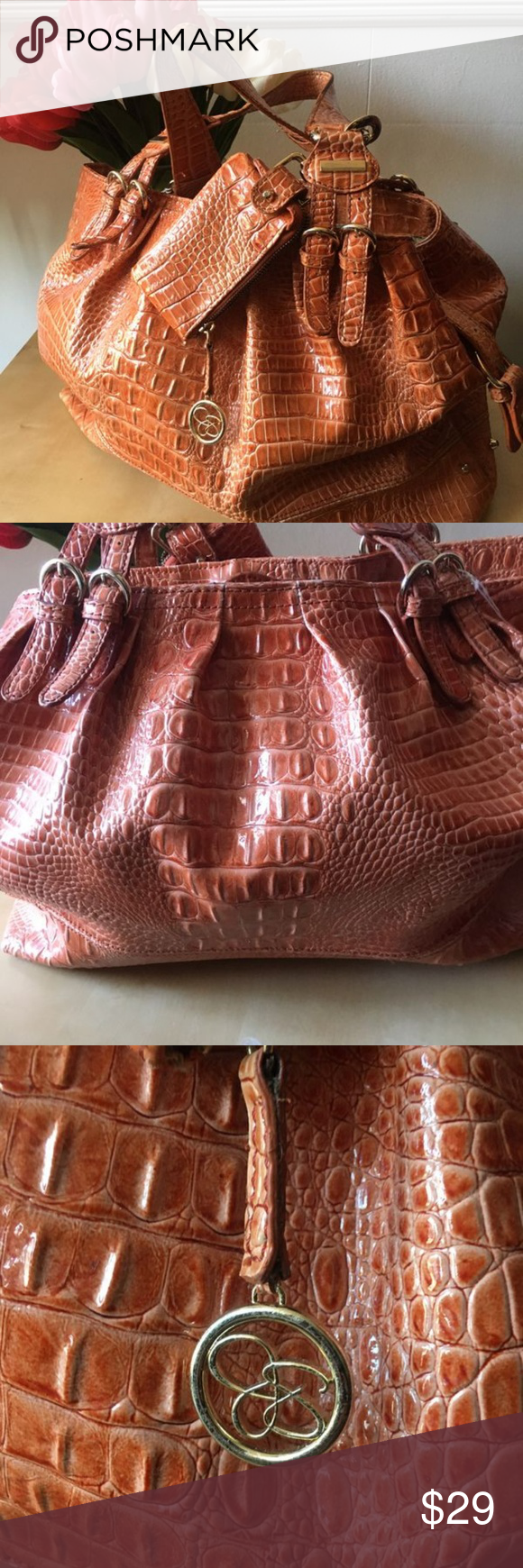 JESSICA SIMPSON croc embossed large handbag tote JESSICA SIMPSON croc embossed l…
