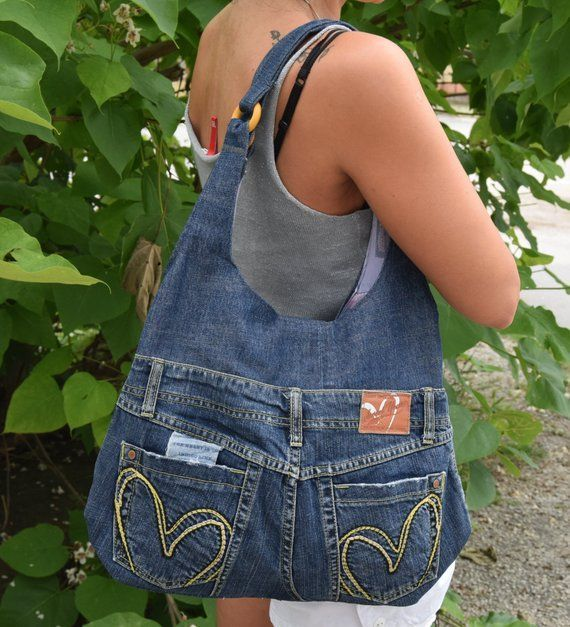 Jeans bag,Recycled jeans,Shoulder handbag,casual denim bag for summer, dark blue…