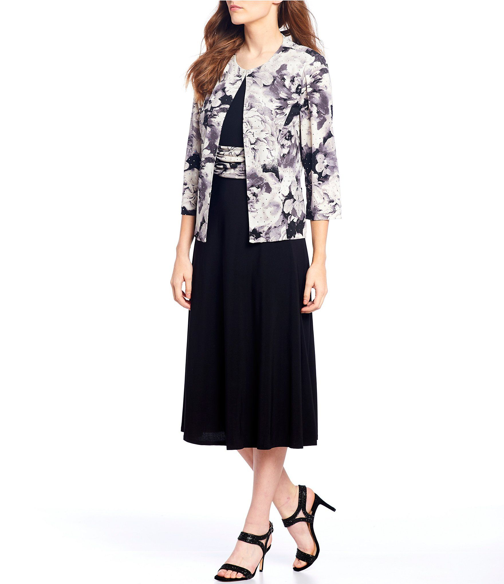 Jessica Howard Scuba Crepe Floral Print Ruched Waist Jacket Dress – Black/Ivory 12