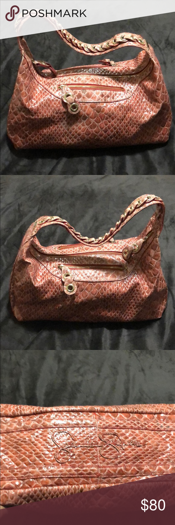 Jessica Simpson handbag Red shiny croc hand bag with silver hardware. Zip top cl…