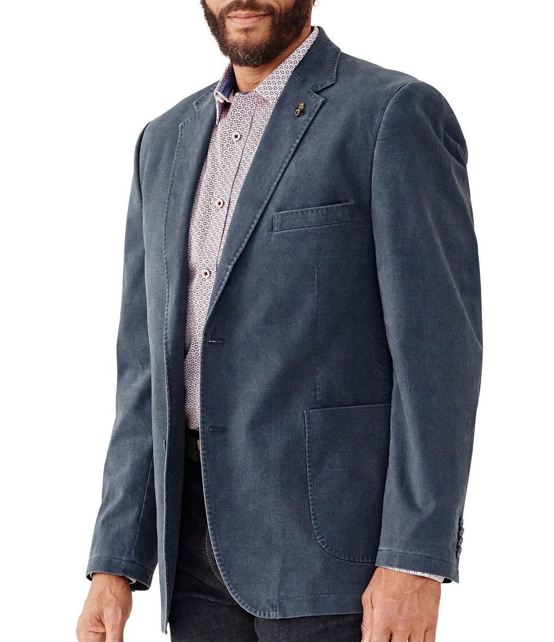 Johnston & Murphy Classic Fit Washed Printed Stretch Blazer | Dillard's