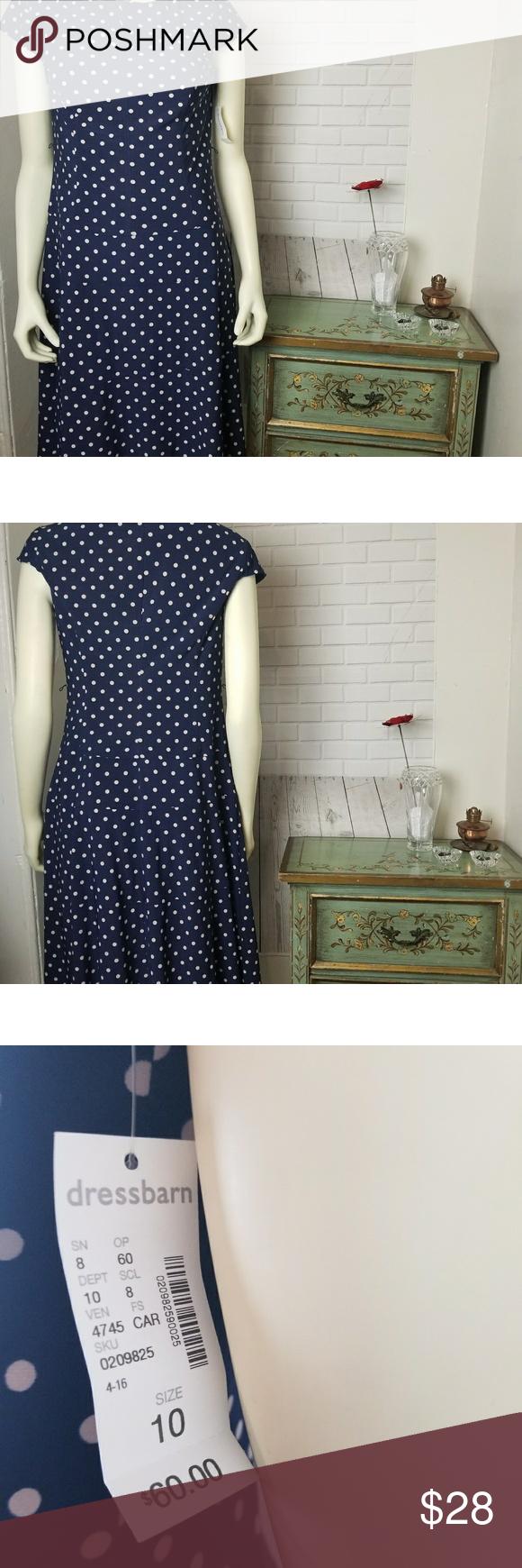 Jones Studio Blue White Polka Dot Dress 10 I love polka dots!! Very Nice Dress. …