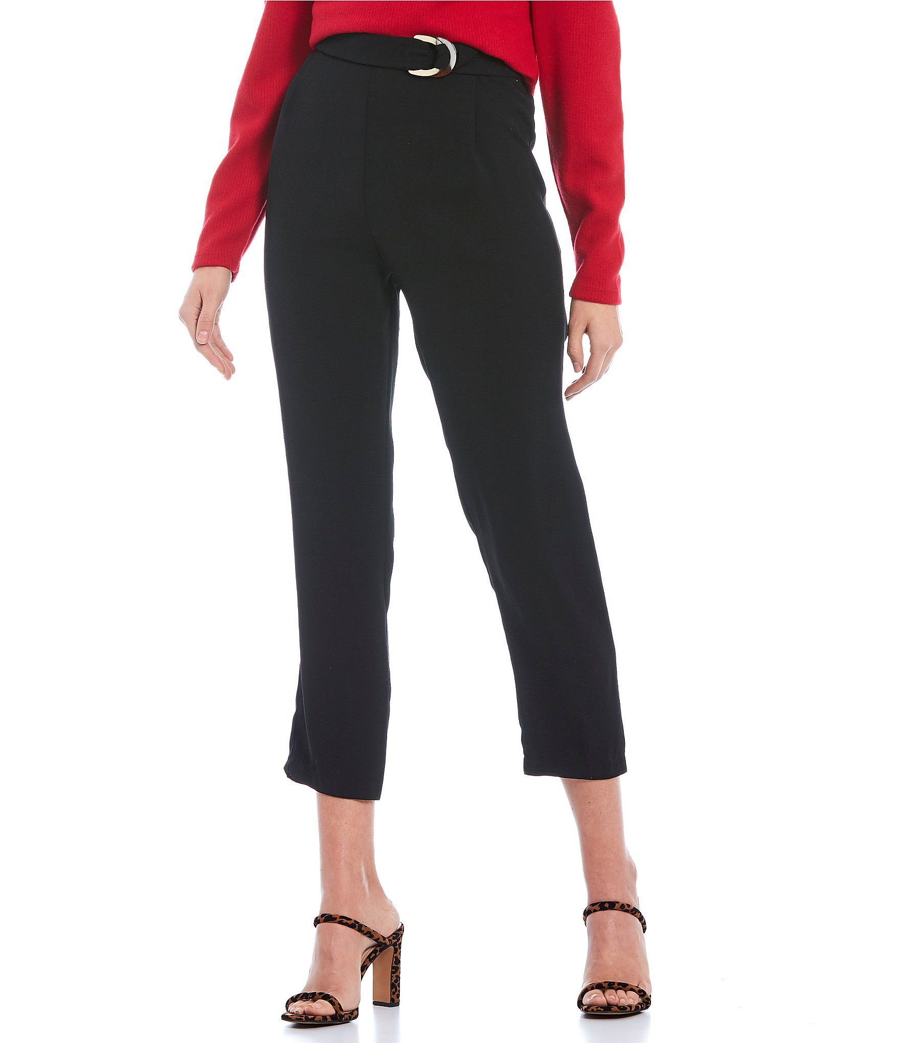 June  Hudson High Rise D-Ring Belted Ankle Pants – Black XL