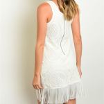 Just Arrived! IVORY LACE FRINGE DRESS Sleeveless scoop neck all over lace mini w...