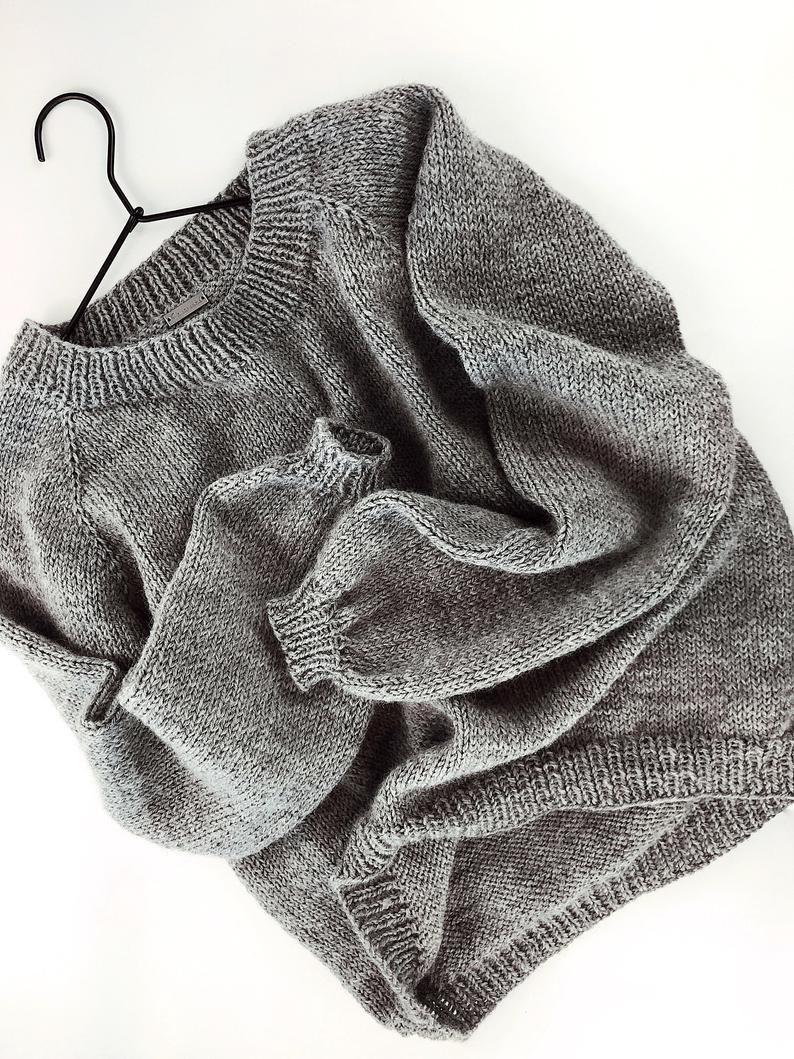 KNITTING PATTERN ⨯ Easy Knit Sweater Knitting Pattern, Womens Sweater Pattern, Raglan Sweater Knit Pattern ⨯ Easy Sweater Knitting Pattern