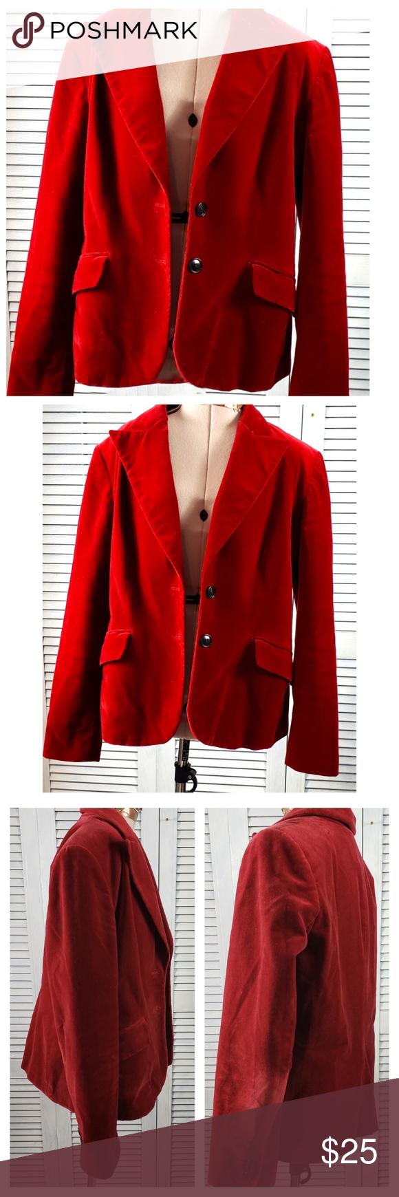 Kasper Red Velvet 2 Button Blazer Jacket Petite 10 Kasper Red Velvet 2 Button Bl…