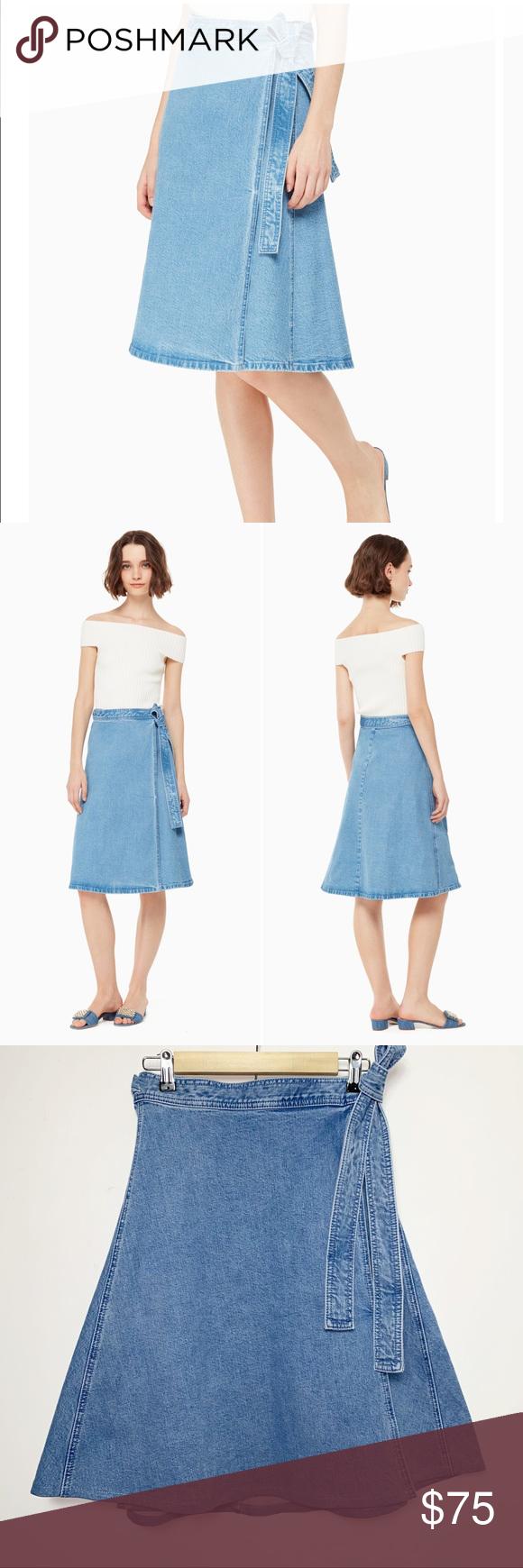 Kate Spade Vintage Denim Wrap Midi Skirt Size 2 Kate Spade vintage denim wrap sk…