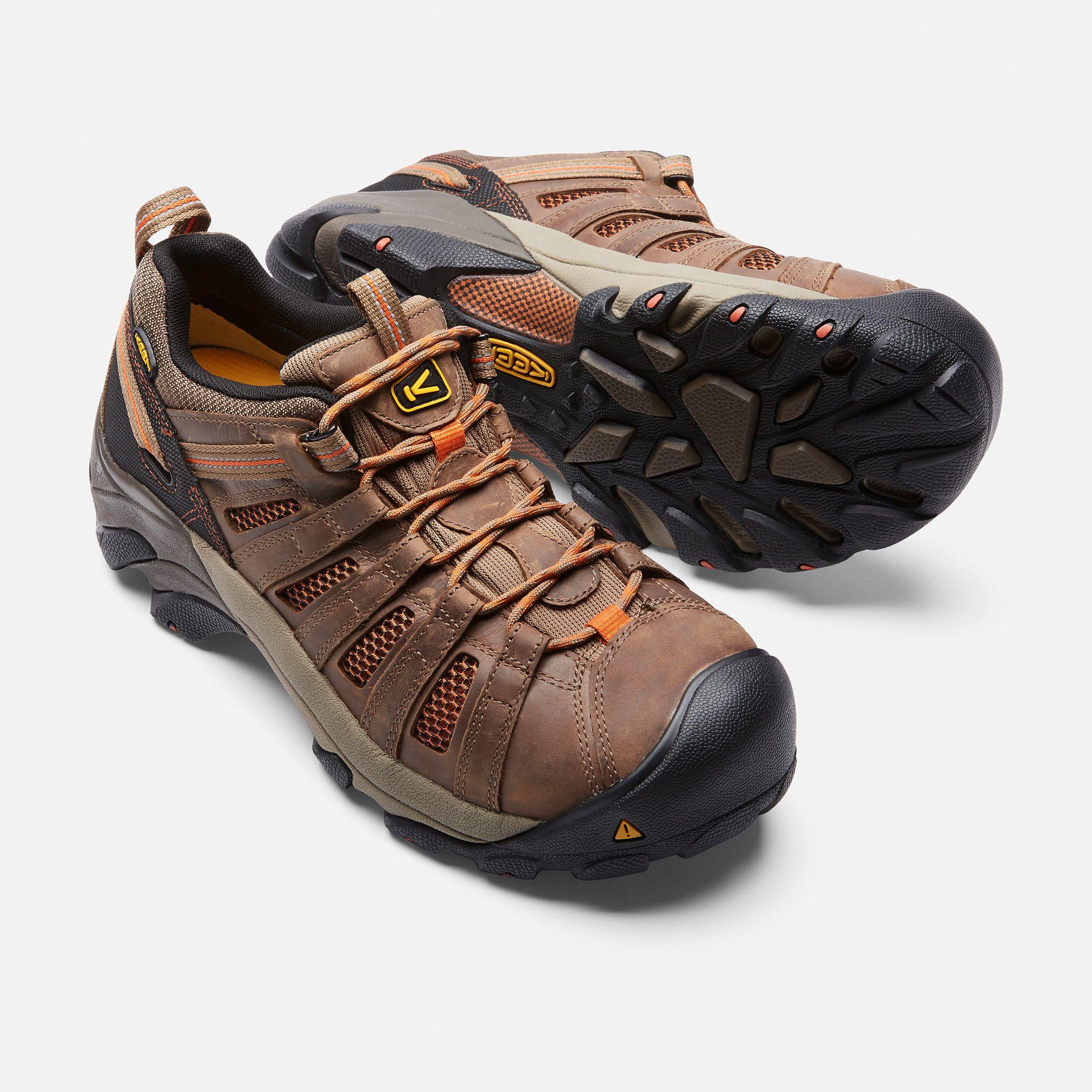 Keen Men's Steel Toe Boot Flint Low, 12, Shitake/Rust