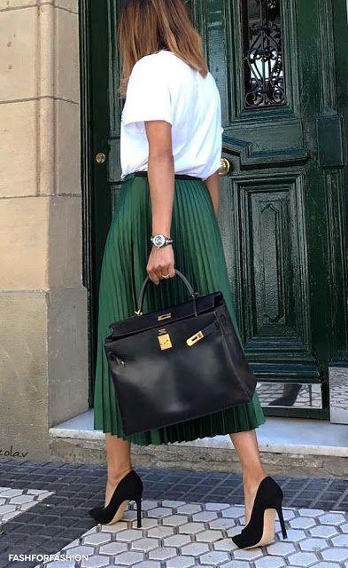Khaki Metallic Midi Pleated Skirt   Shop on SHEISREBEL.COM