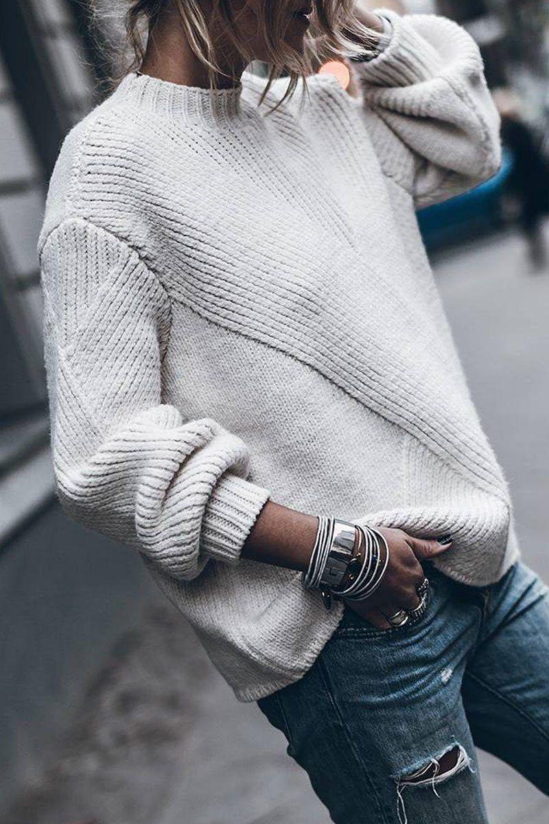 Kissesgirl Loose Daily Long Sleeve Sweater (3 colors)