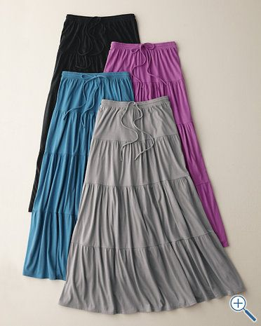 Knit Tiered Beach Skirt from Garnet Hill. (Love long, loose skirts in the summer…