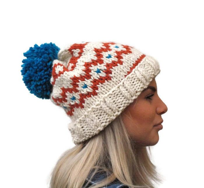 Knit fair isle hat, pom pom hat Hand Knit Beanie, Cream- Orange -turquoise beanie, chunky woman hat, wool hat, winter accessory, warm hat
