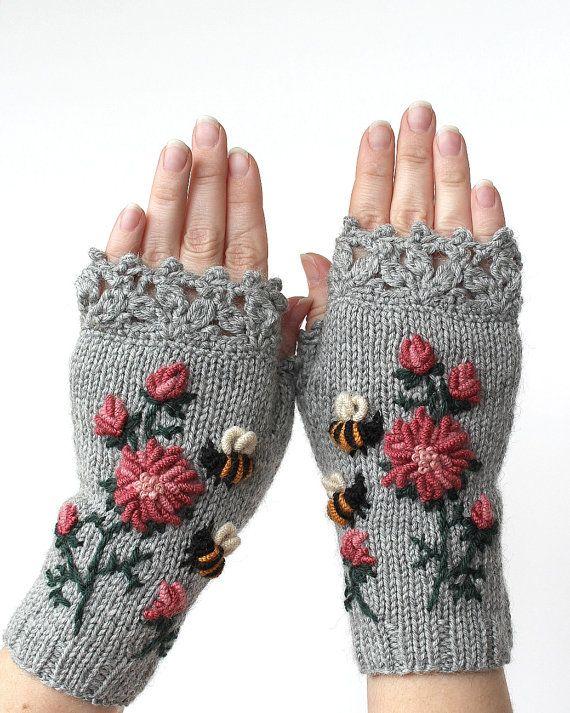 Knitted Fingerless Gloves, Gloves & Mittens, Gift Ideas, For Her, Winter Accesso…