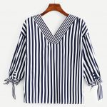 Knot Side Striped Blouse -SheIn(Sheinside)