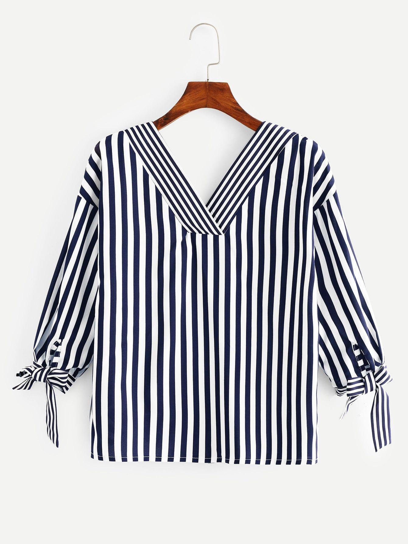 Knot Side Striped Blouse -SheIn(Sheinside)