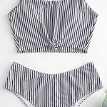 Knot Striped Tankini Swimsuit BLACK